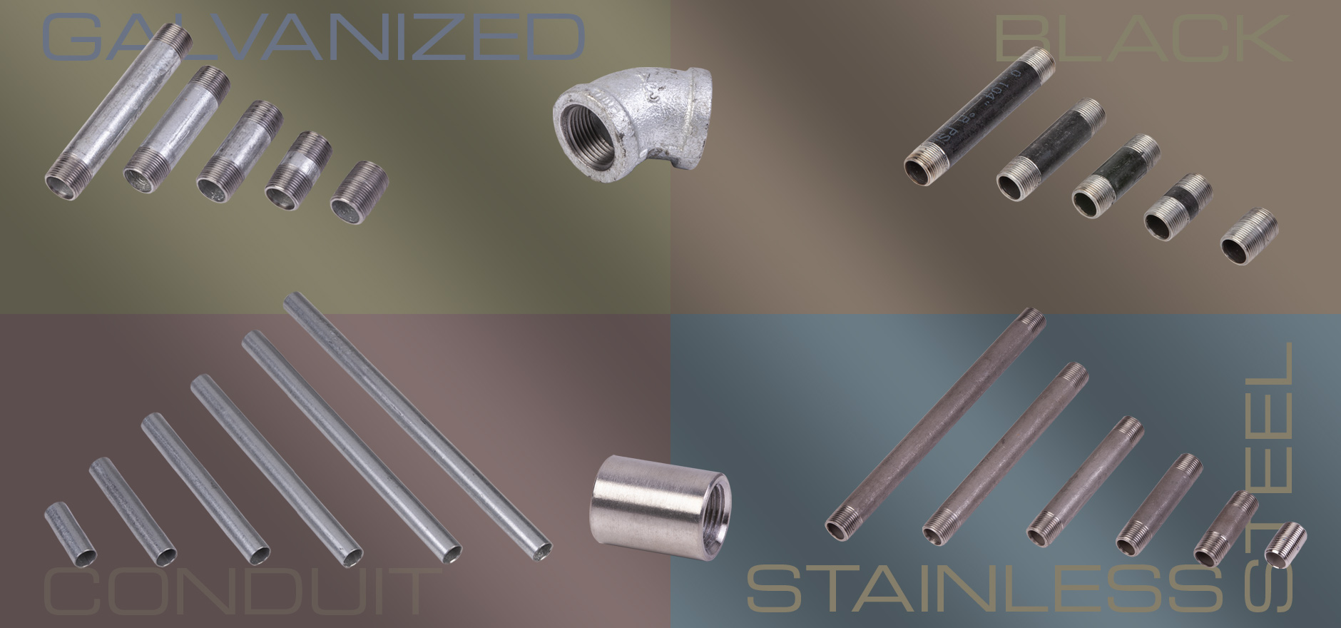 New Stainless Steel, Black, & Galvanized Pipe, Pipe Nipples, Fittings, & Conduit
